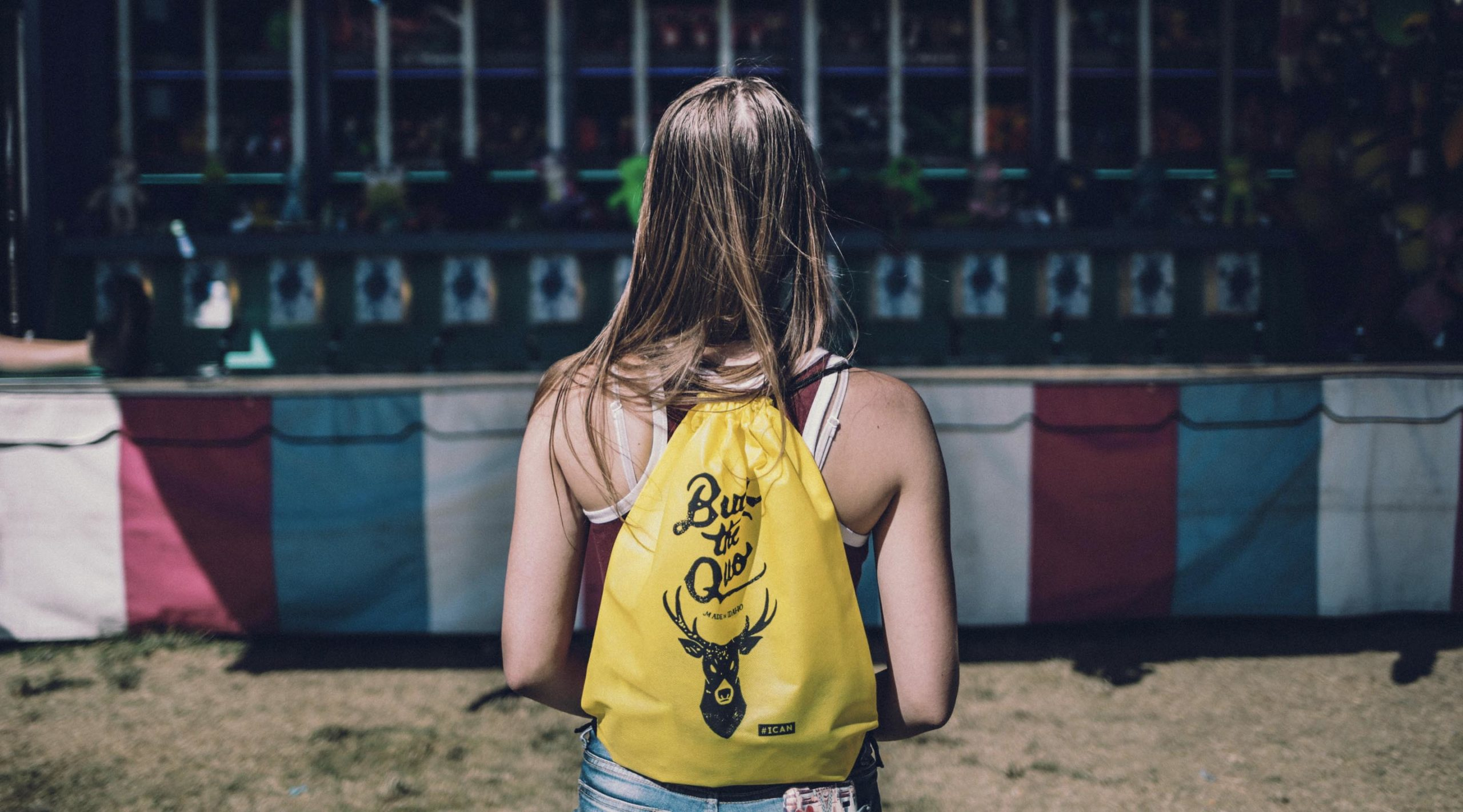 Girl with drawstring backpack