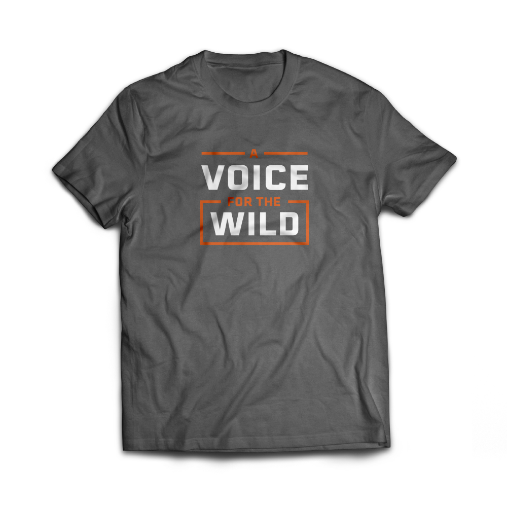 Gray tee shirt with white and orange text reading Voice of the Wild