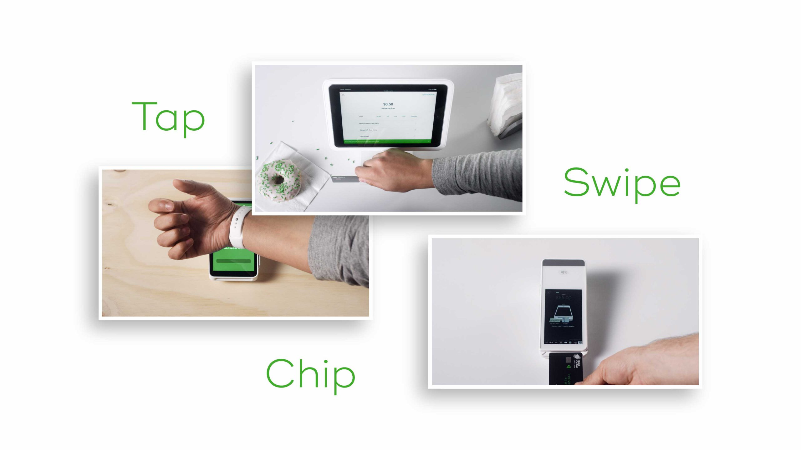 Three thumbnails of a different payment methods using a watch, swiping a card, using a card chip with the text Tap Swipe Chip